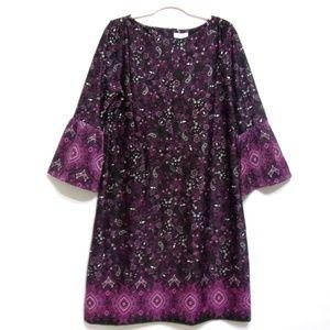 Charter Club Dress Bell Sleeves NWT Size L Purple
